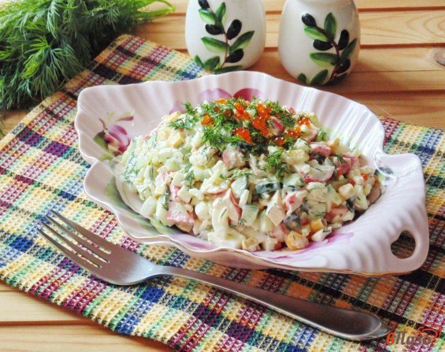 Фото крабового салата с огурцом