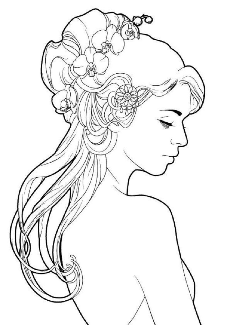 Красивая девушка, раскраска для девочек