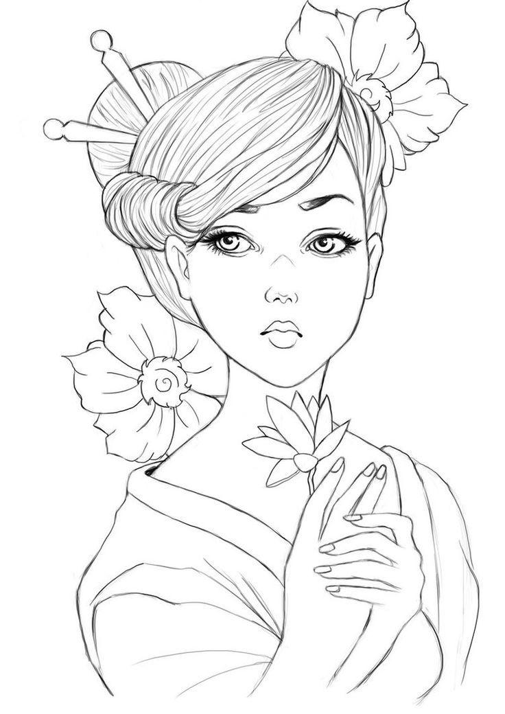 Раскраска лицо девушки