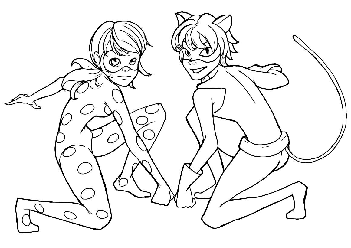 Раскраска Леди Баг и супер Кот