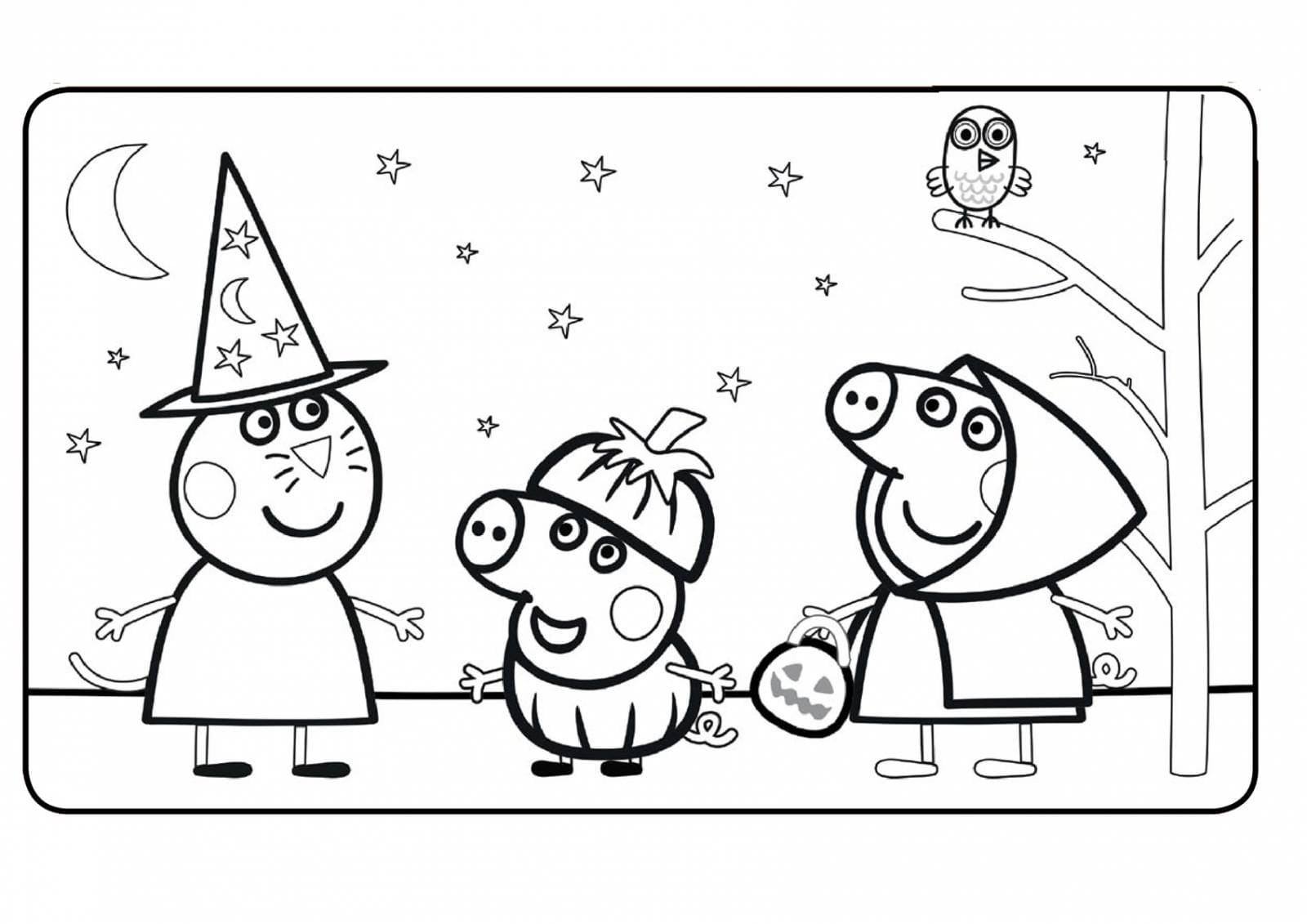 Свинка Пеппа, раскраска для детей