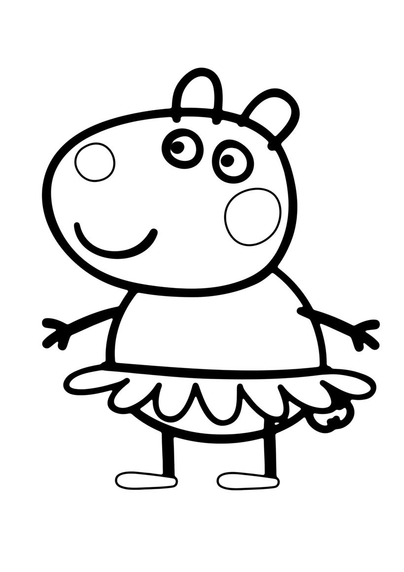 Раскраска свинка Пеппа, для мальчиков и девочек