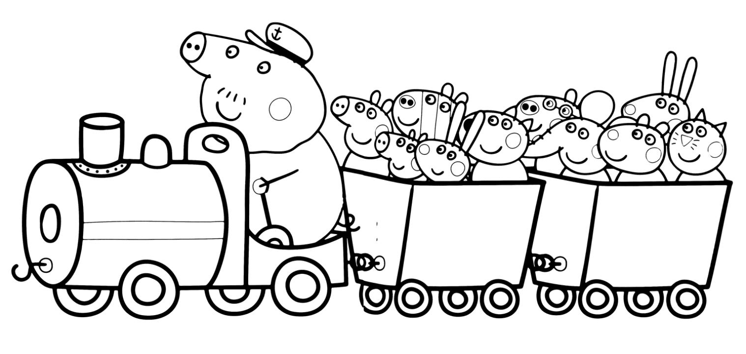 Раскраска свинка Пеппа, распечатать онлайн бесплатно