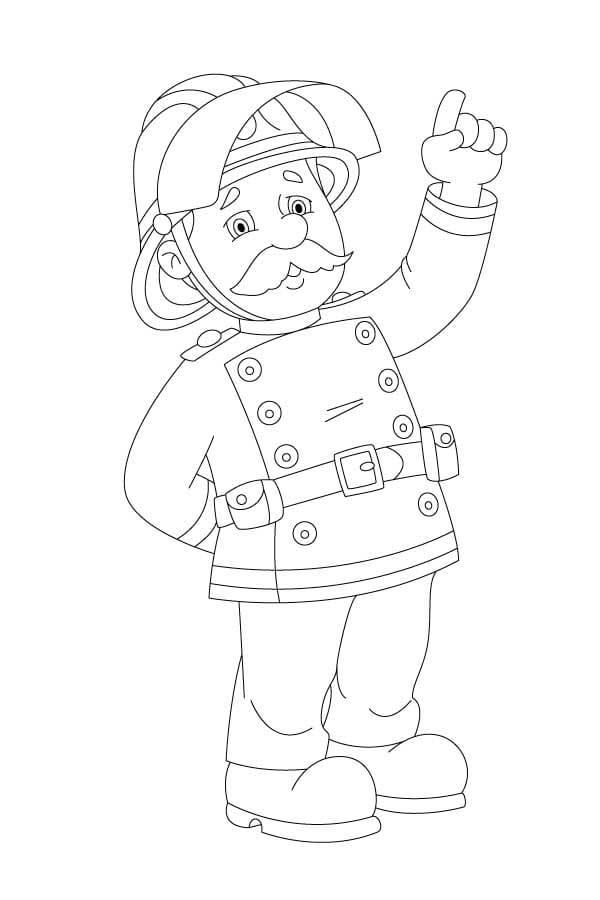 Раскраска пожарный, для детей