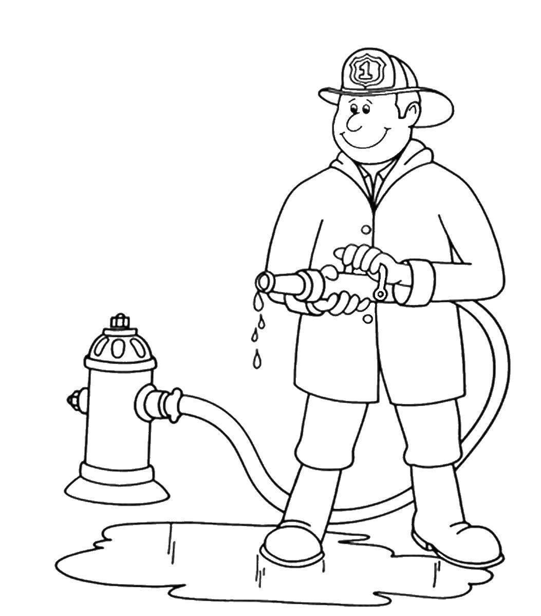 Раскраска пожарный, скачать и распечатать бесплатно