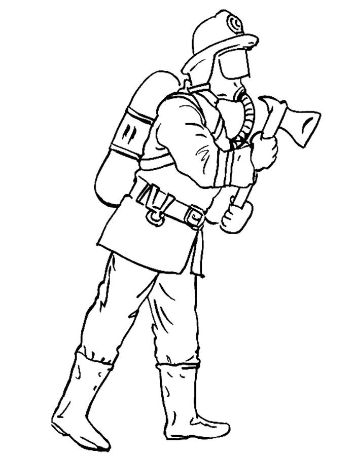 Раскраска для детей пожарный, распечатать онлайн бесплатно