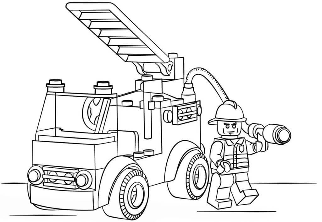 Пожарная машина раскраска