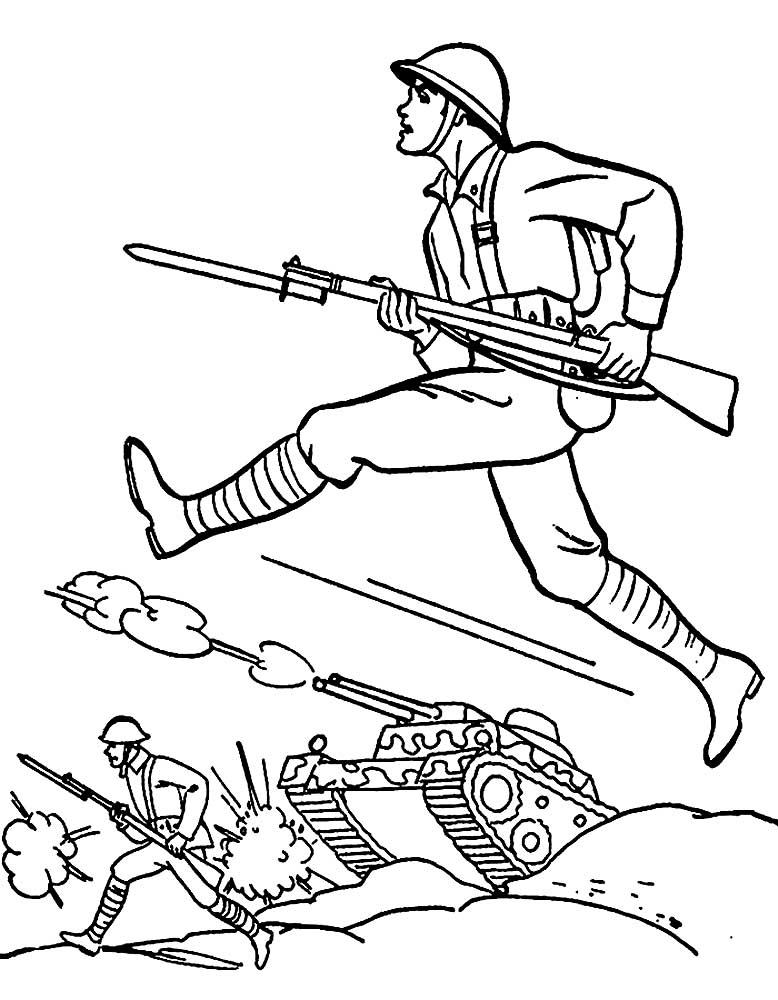 Раскраски для мальчиков, солдаты