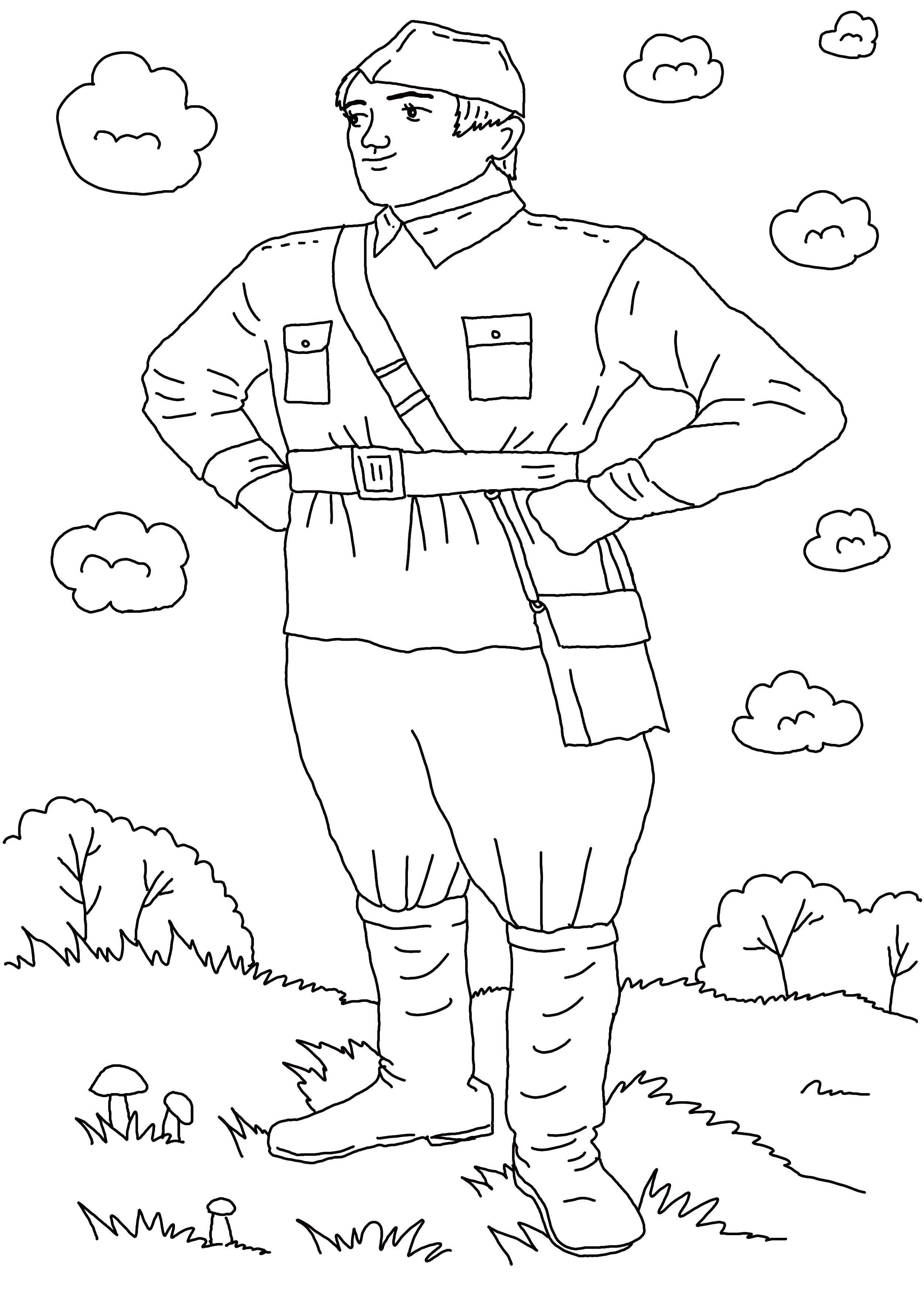 Распечатать раскраску для мальчиков солдат