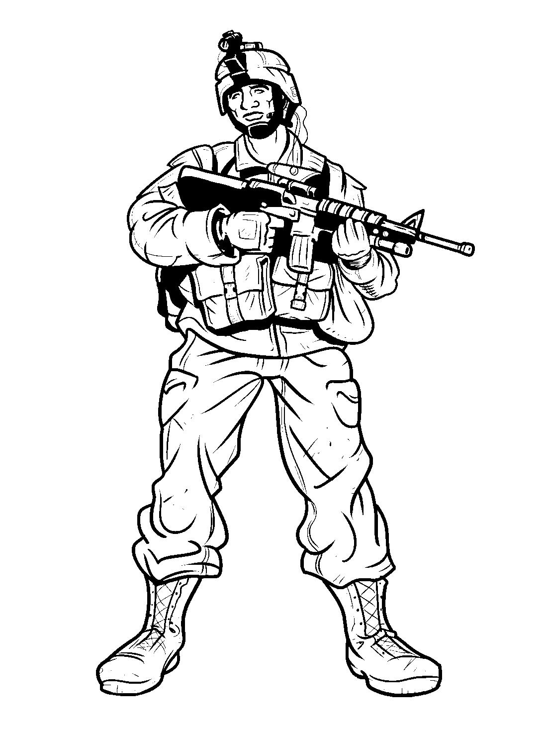 Солдат раскраска, распечатать