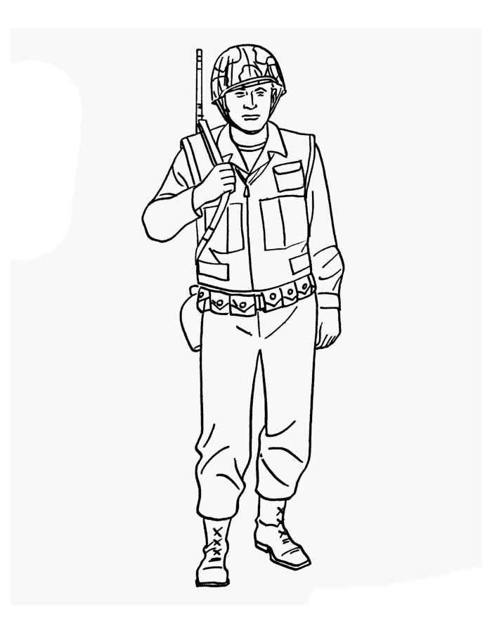 Картинка солдата, раскраска