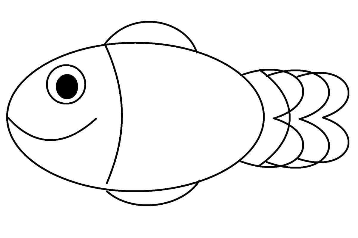Рыбка раскраска для детей