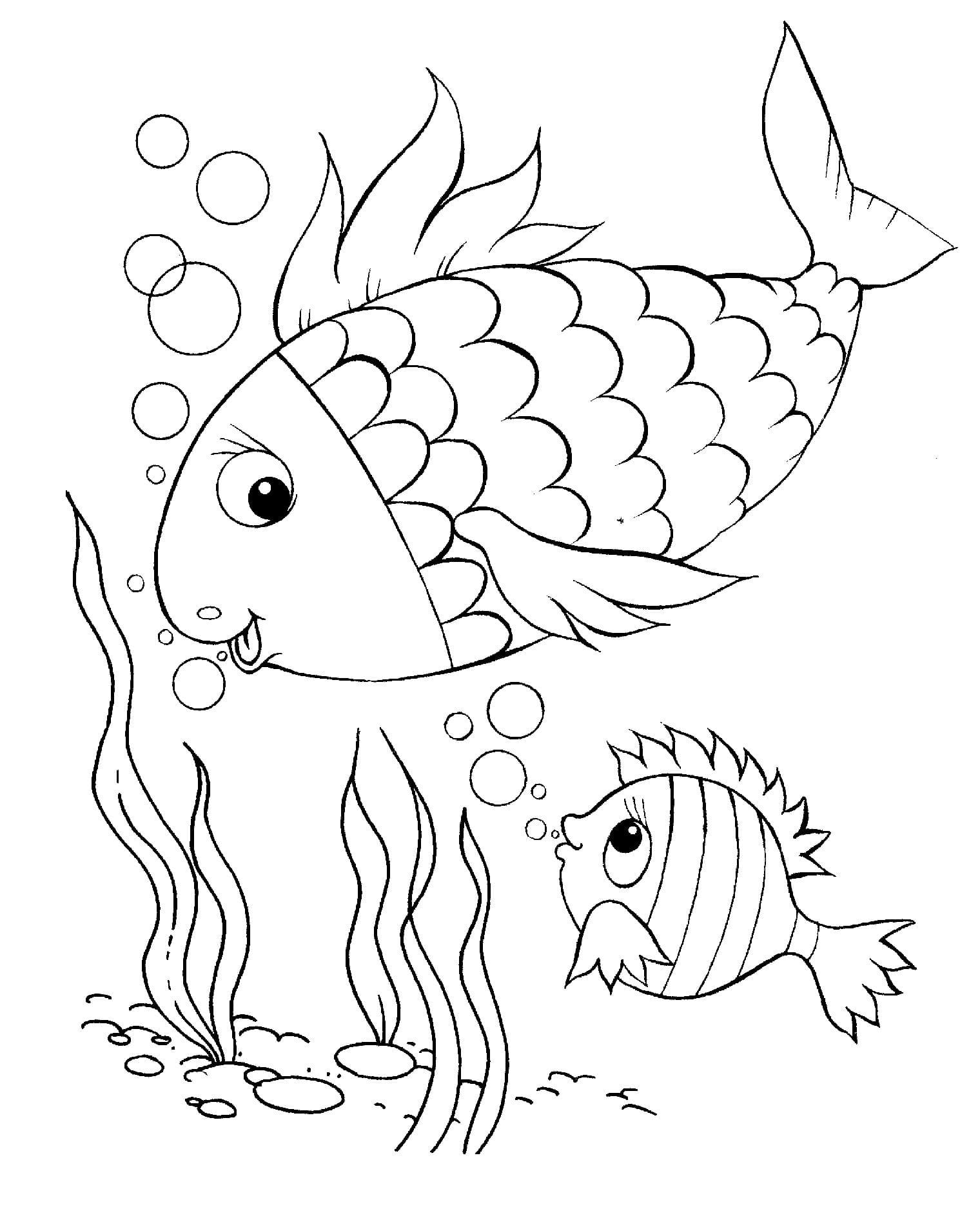 Рыбки раскраска для детей