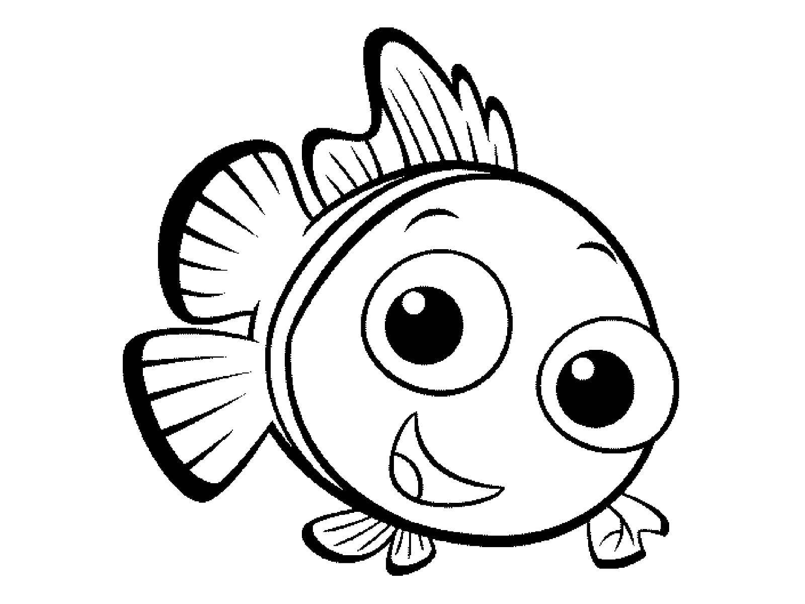 Скачать и распечатать раскраску рыбки для детей