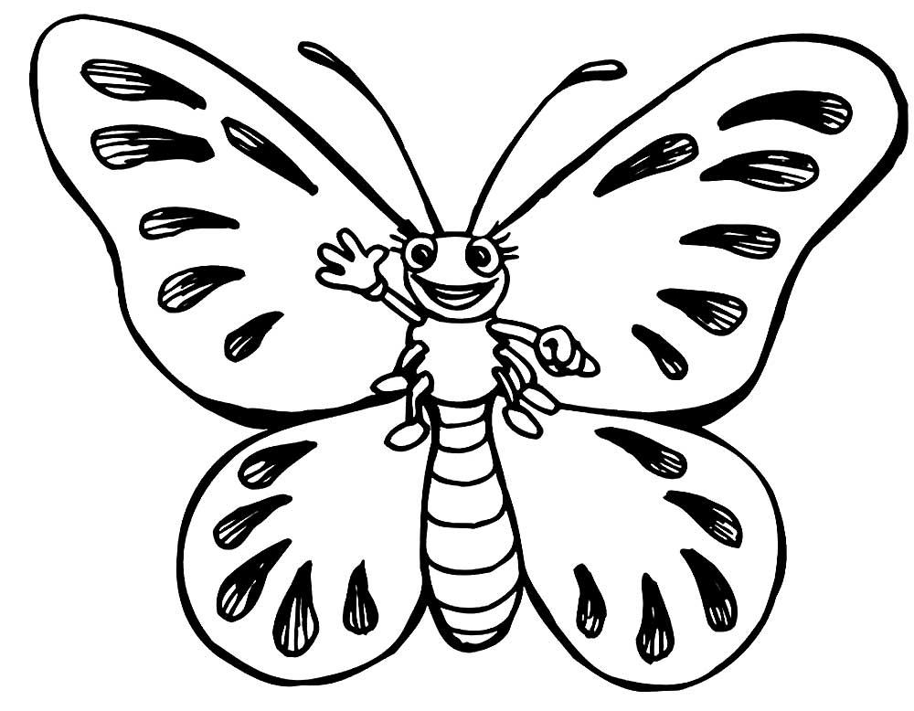 Раскраска бабочка для детей, скачать и распечатать бесплатно
