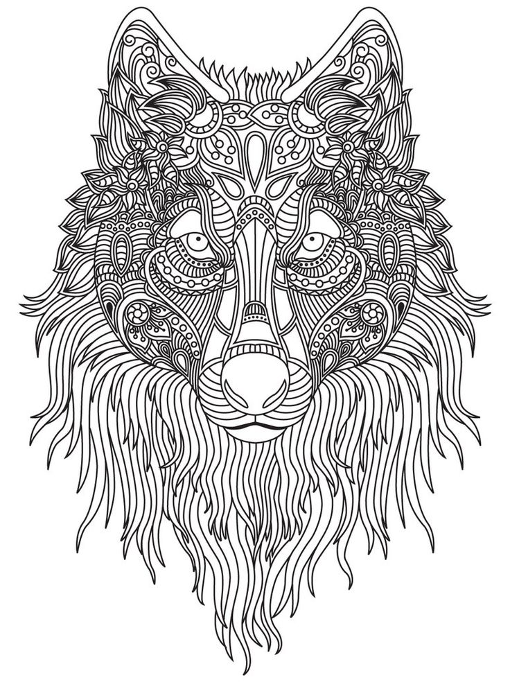 Раскраска антистресс - волк для взрослых и детей