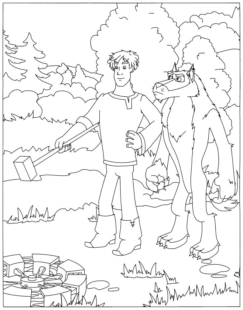 Раскраска Иван Царевич и серый волк, распечатать бесплатно