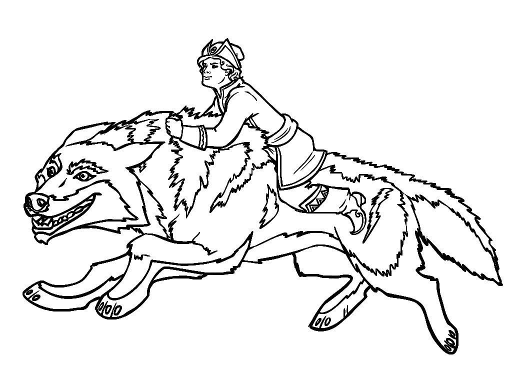 Раскраска Иван Царевич и волк