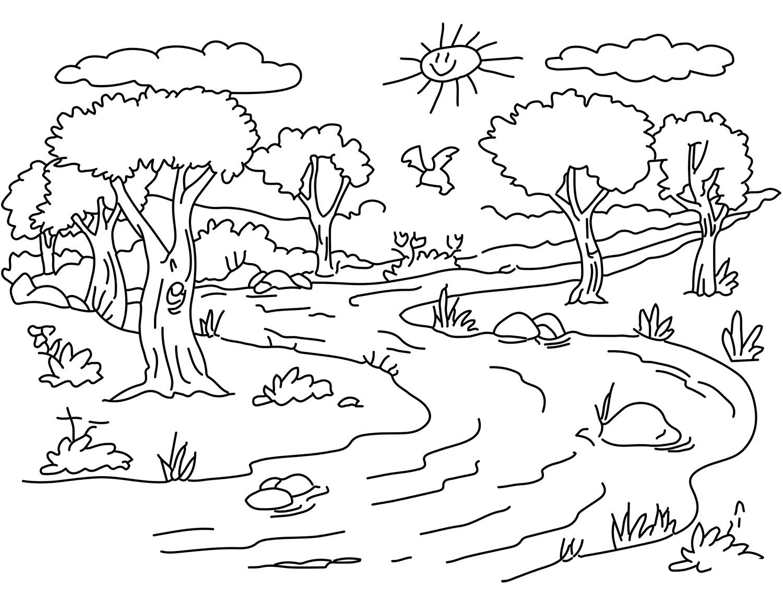 Рисунки для раскрашивания пейзаж
