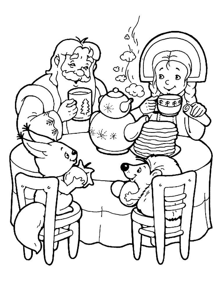 Масленица раскраска для детей, распечатать