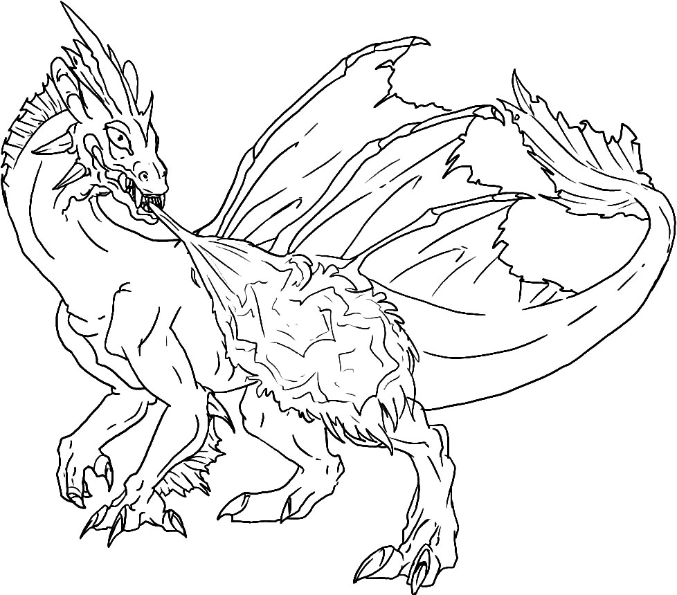 Скачать и распечатать раскраску дракон, бесплатно