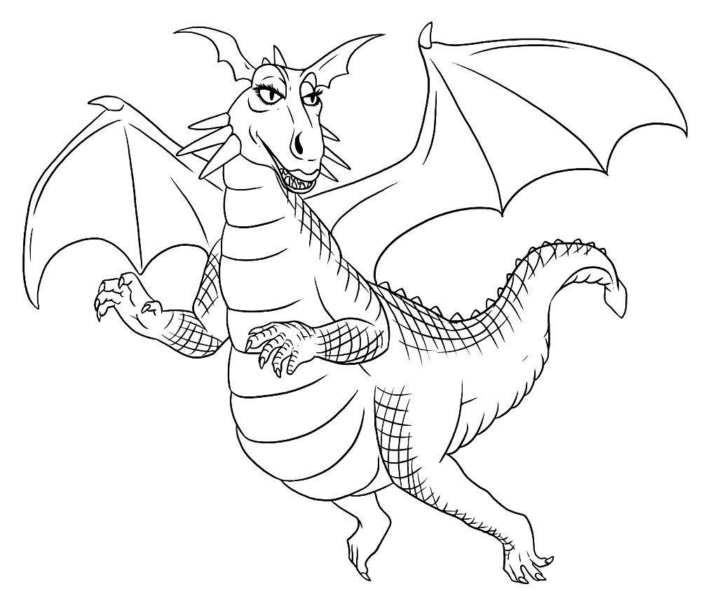 Распечатать раскраску дракон