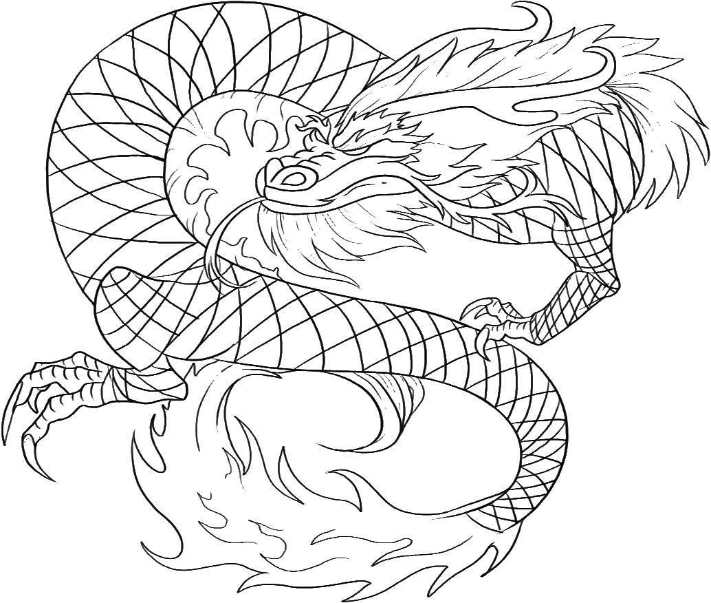 Скачать и распечатать раскраску дракон, онлайн бесплатно