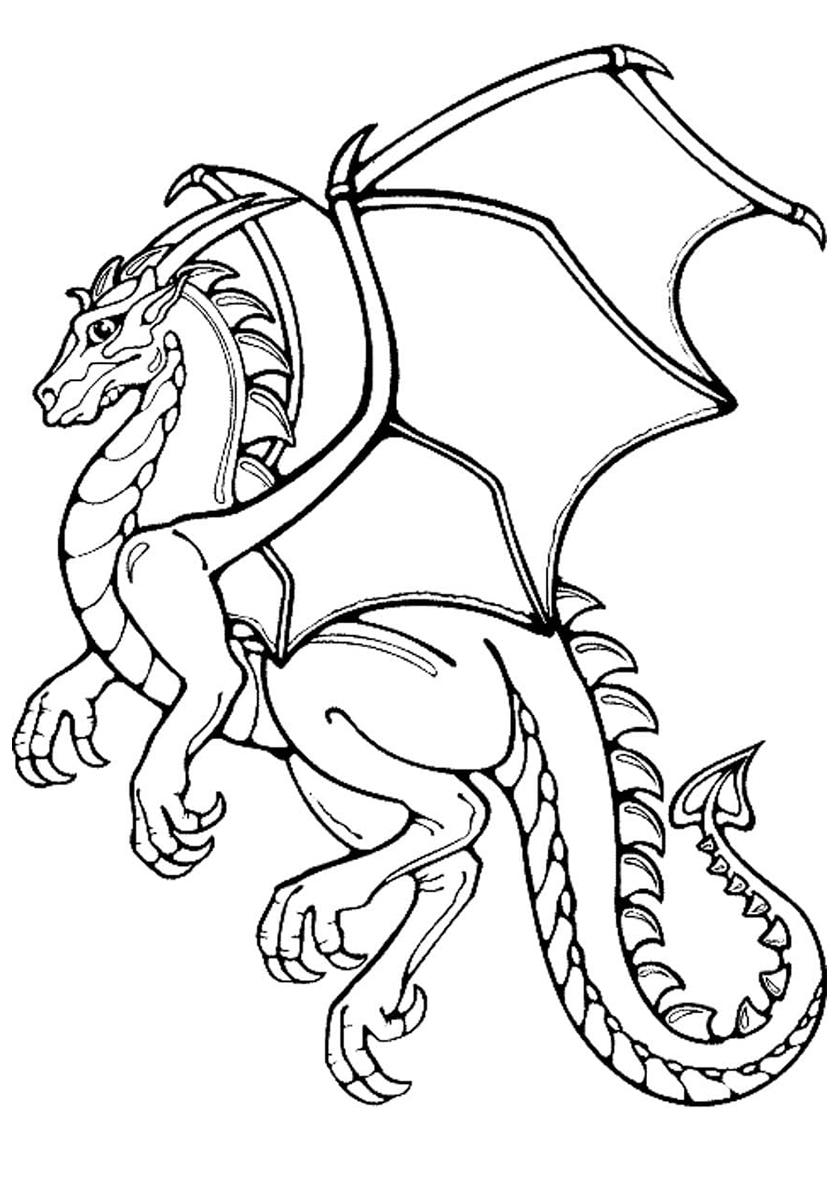 Распечатать раскраску дракон для детей
