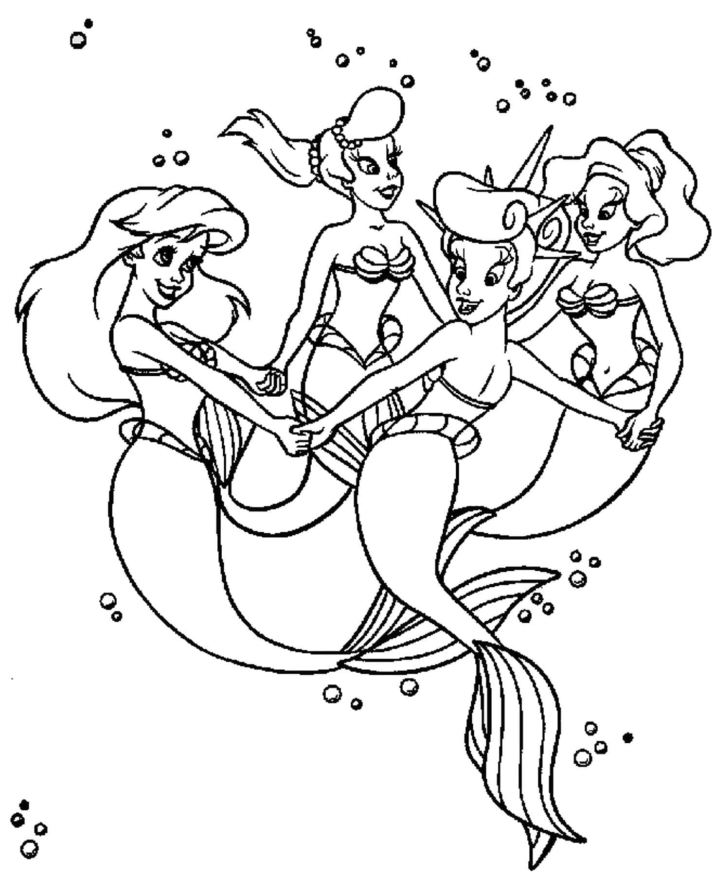 Раскраски русалки для девочек, распечатать бесплатно