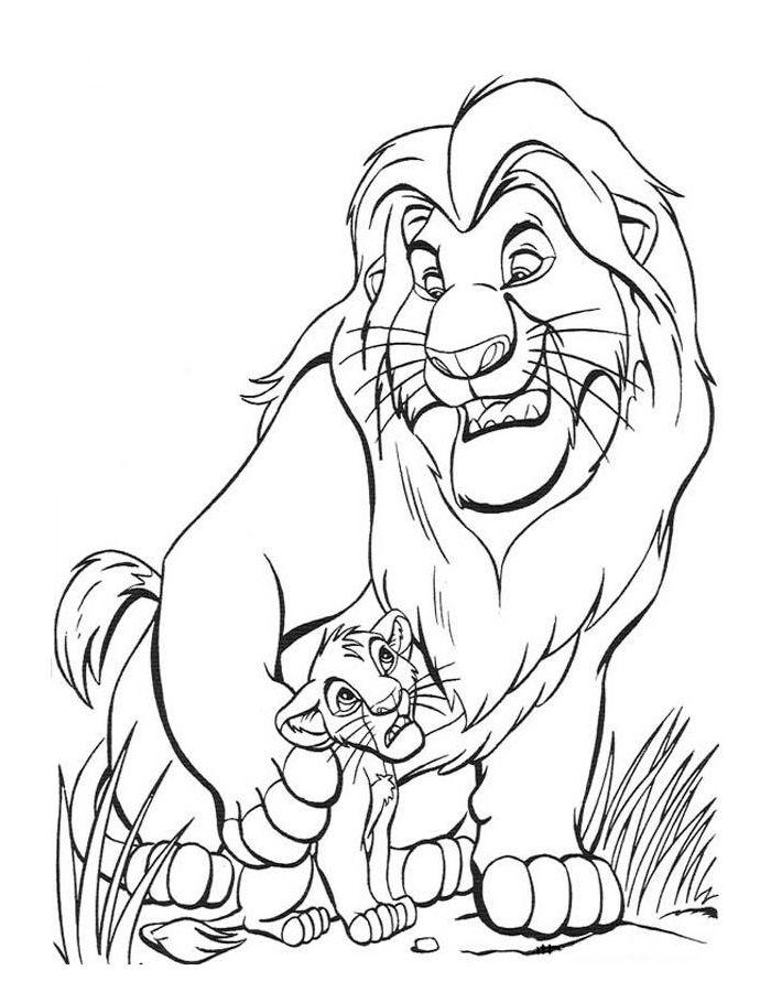 Раскраска Король лев для детей