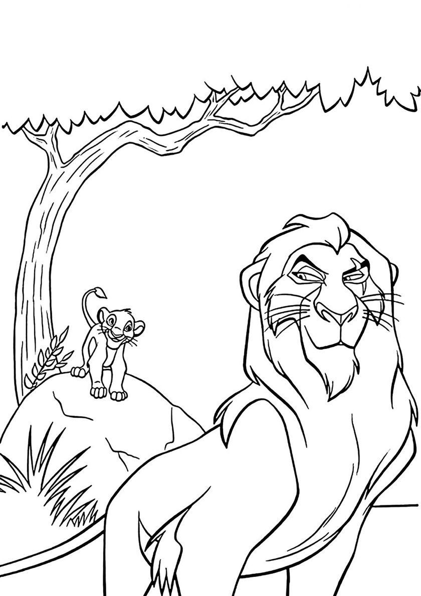 Распечатать раскраску Король лев, бесплатно