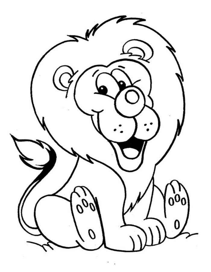Лев раскраска для детей, скачать и распечатать бесплатно