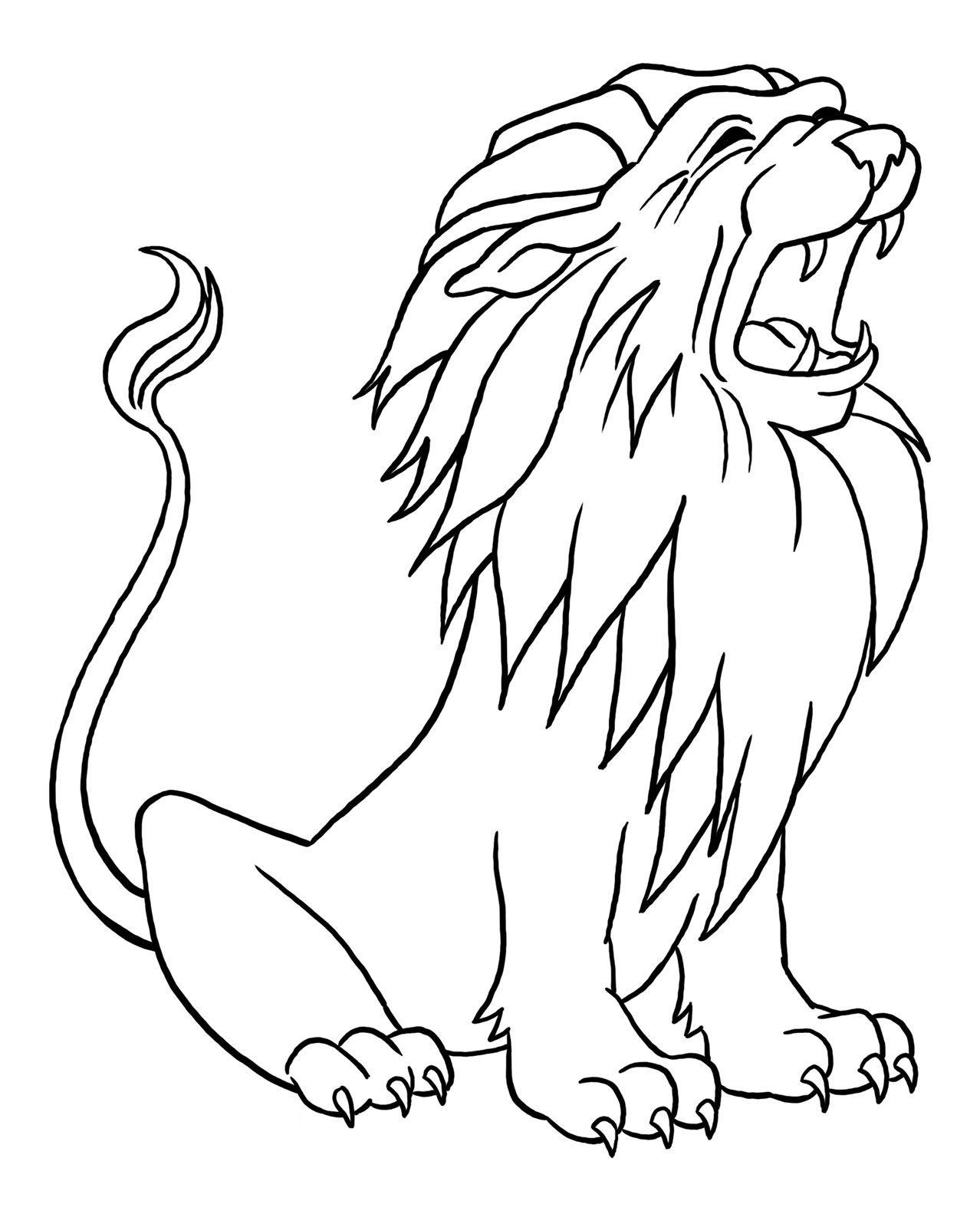 Распечатать раскраски для детей - лев, бесплатно