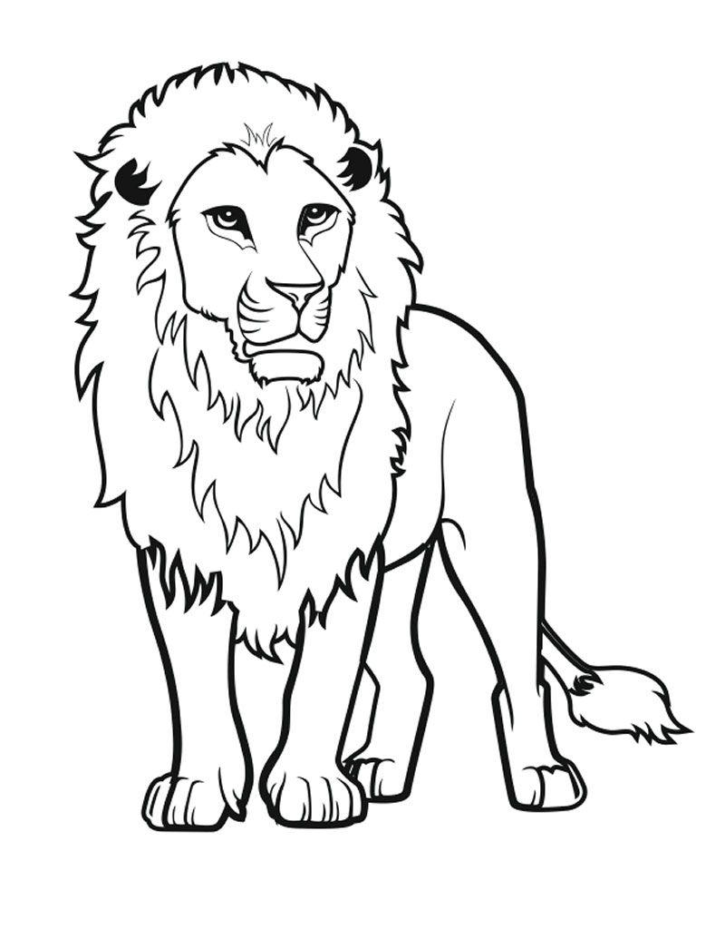 Распечатать раскраску про льва