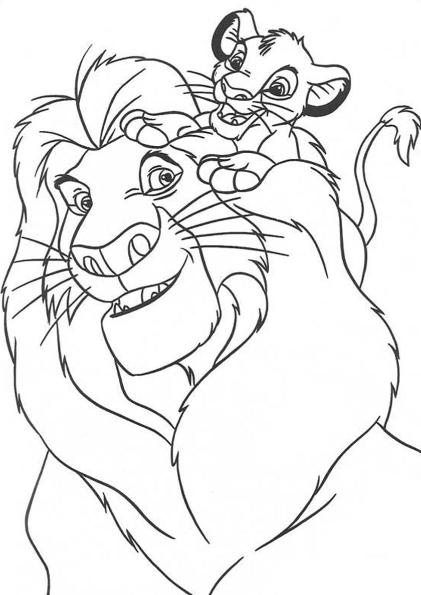 Раскраска Король лев, распечатать