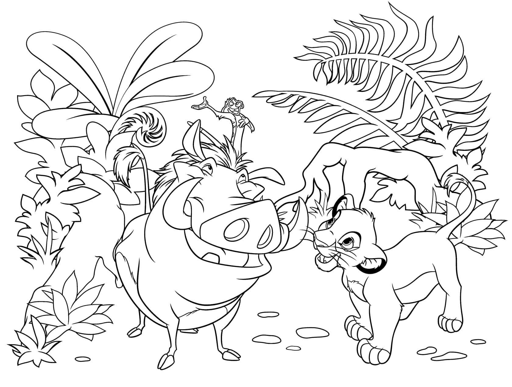 Раскраска Король лев, распечатать бесплатно