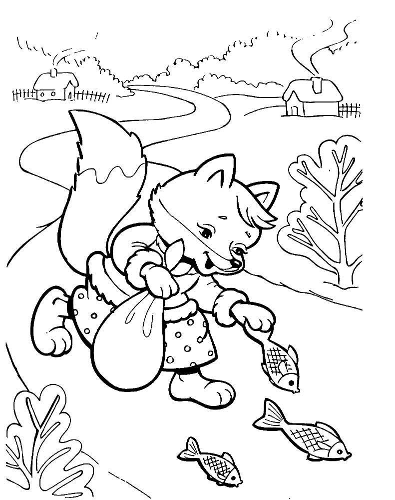 Распечатать раскраску про лису, бесплатно