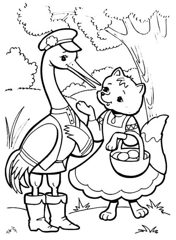 Детские раскраски - лиса и журавль