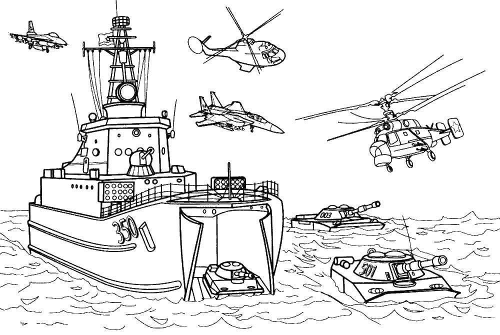 Распечатать раскраску для мальчиков - военный корабль
