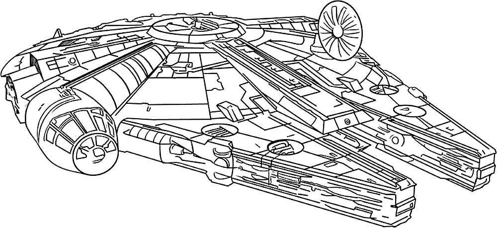 Раскраска для детей - космический корабль