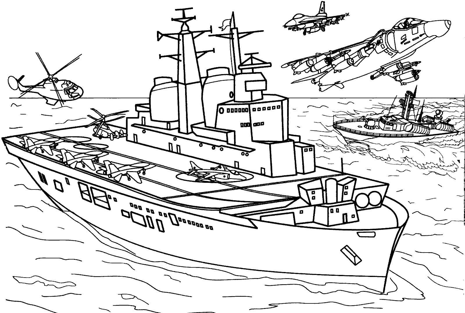 Раскраска военный корабль