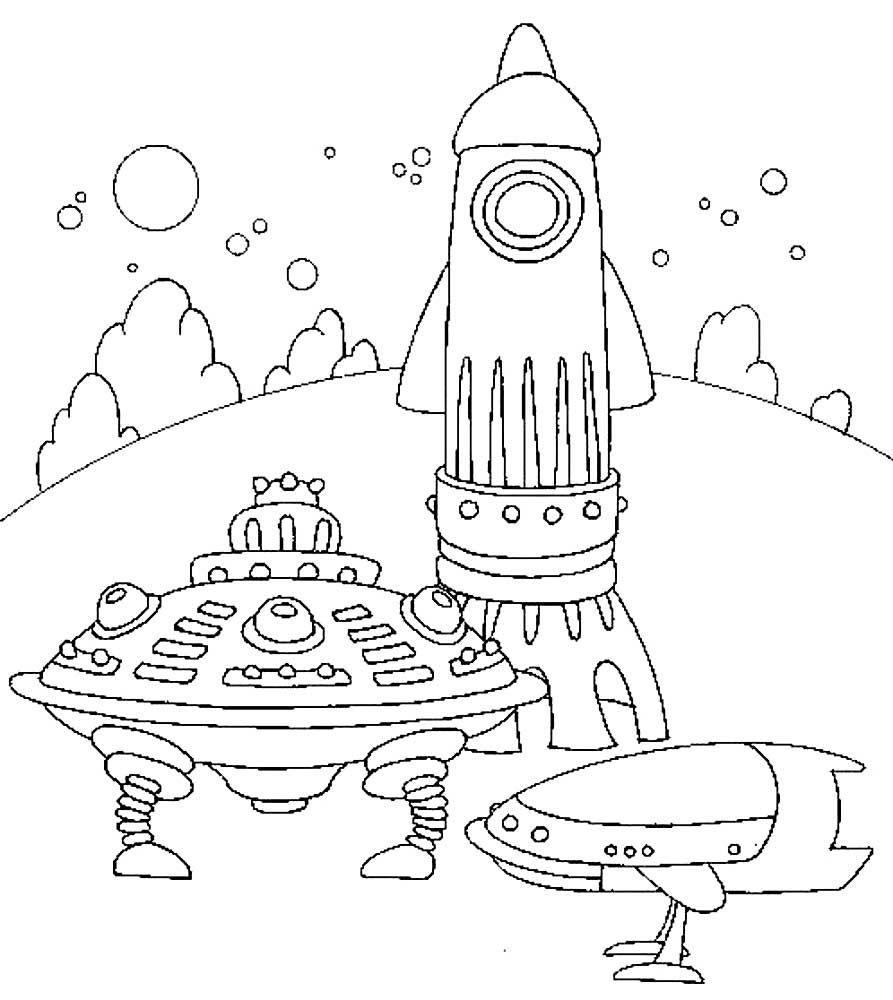 Космический корабль раскраска