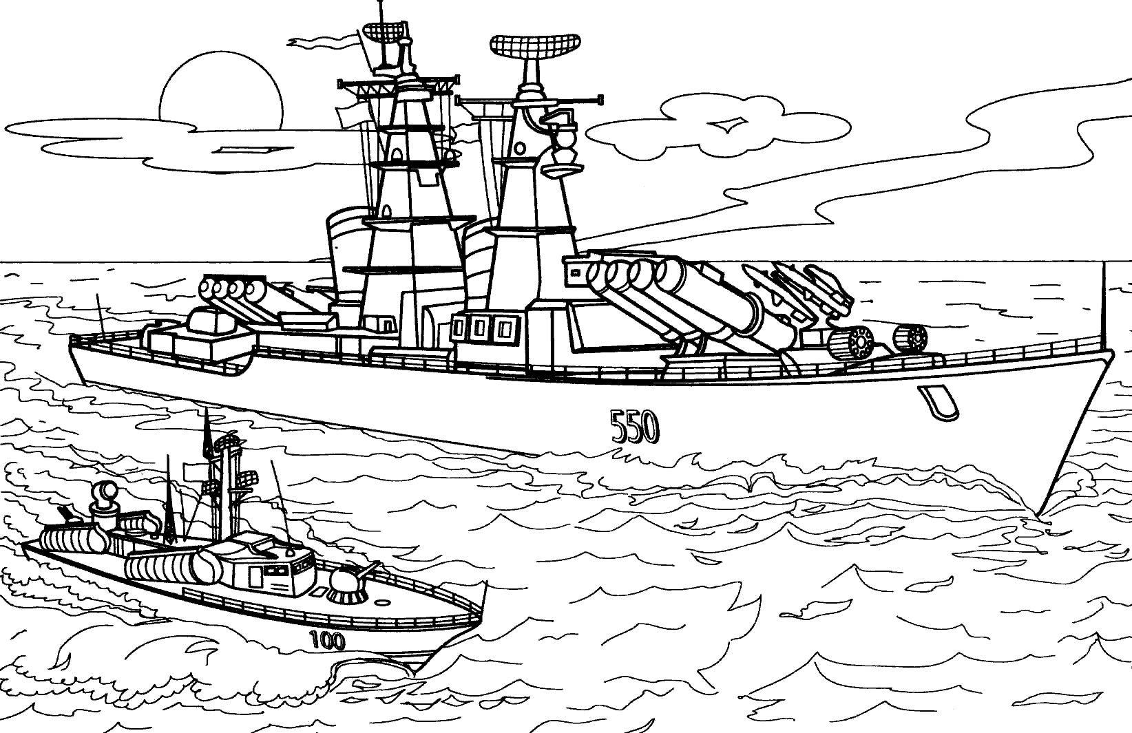 Корабль раскраска для детей