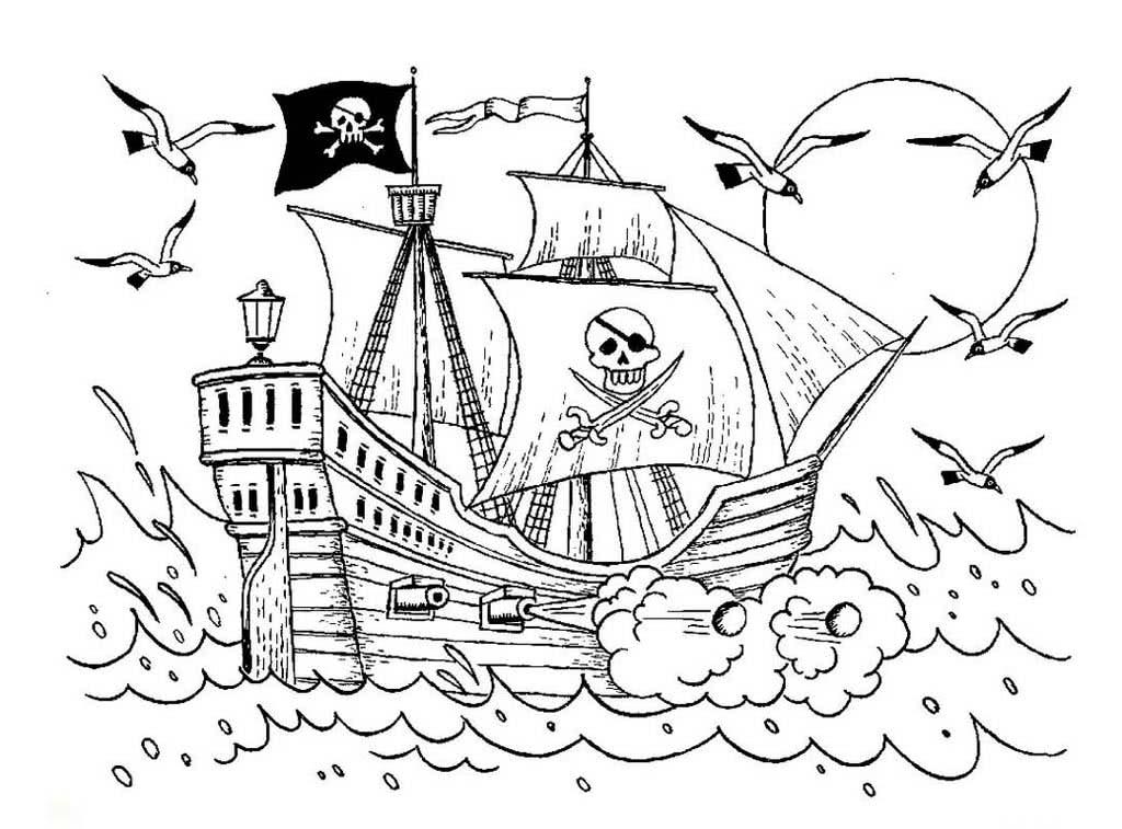 Скачать и распечатать раскраску - пиратский корабль