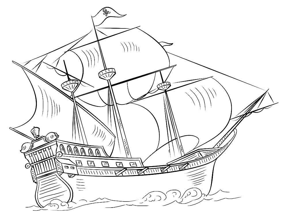 Корабль с парусами раскраска - пиратский корабль