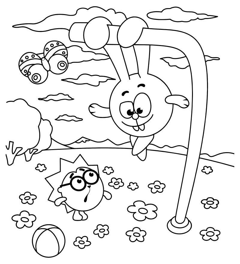 Раскраски для детей - смешные смешарики