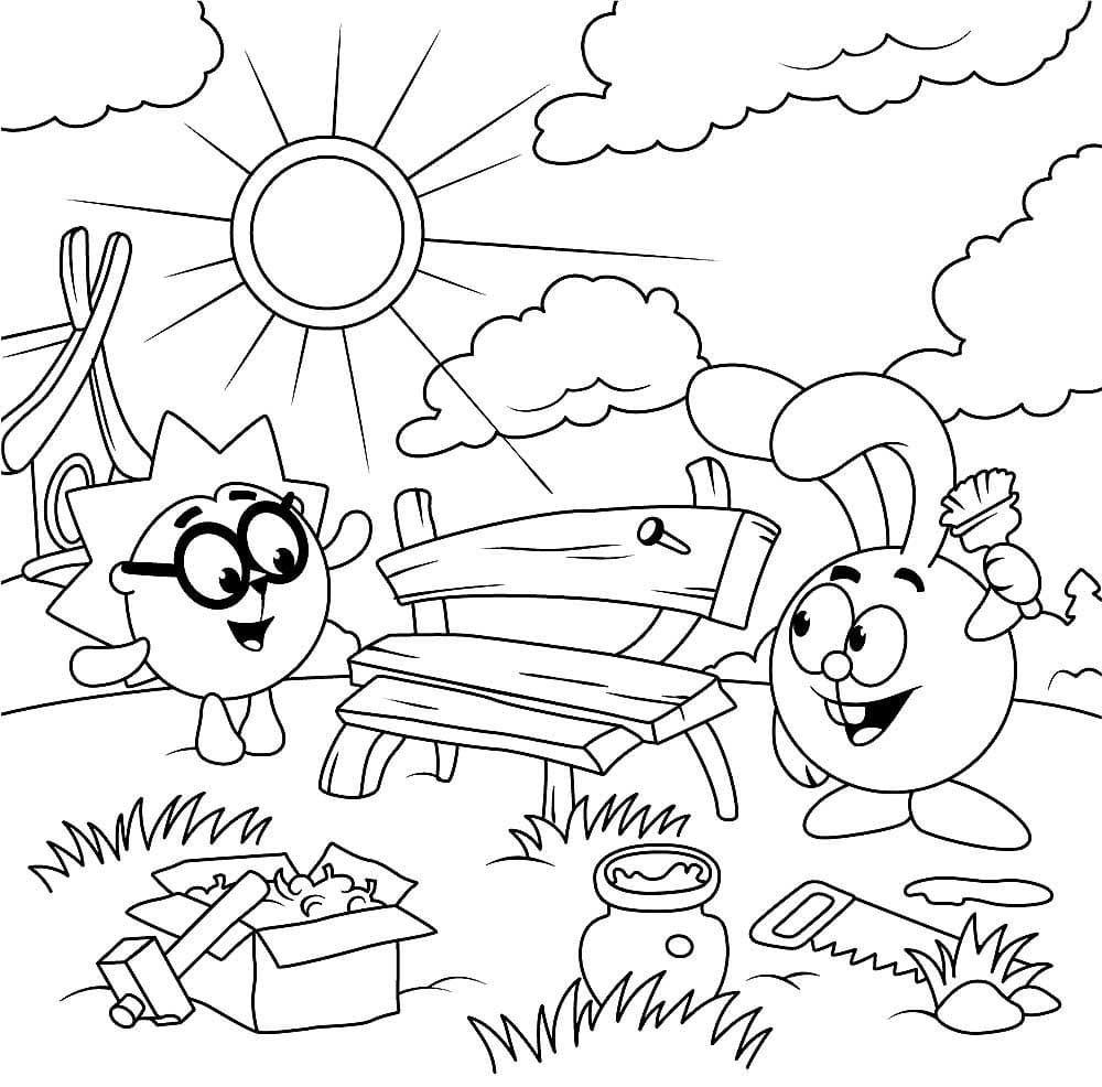 Крош и Ежик интересные картинки для раскрашивания