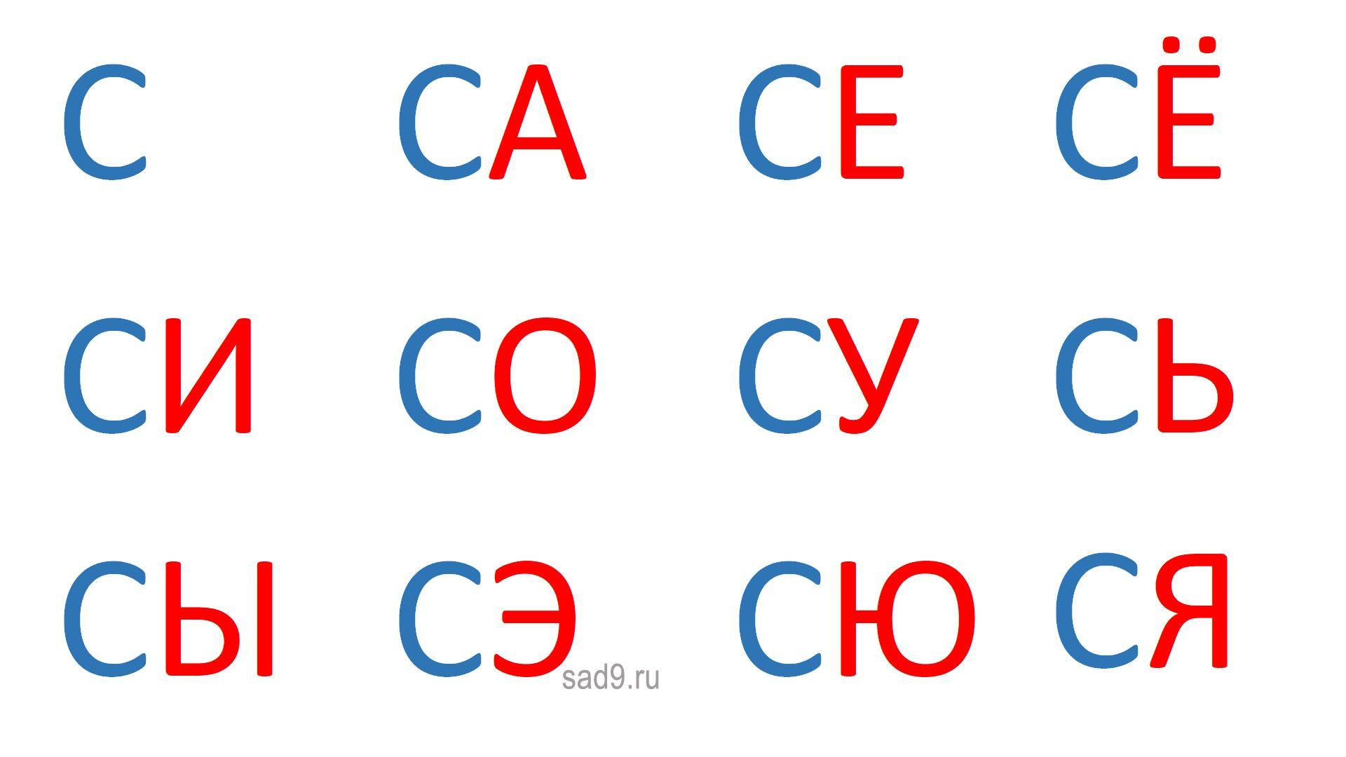 Слоги на букву С
