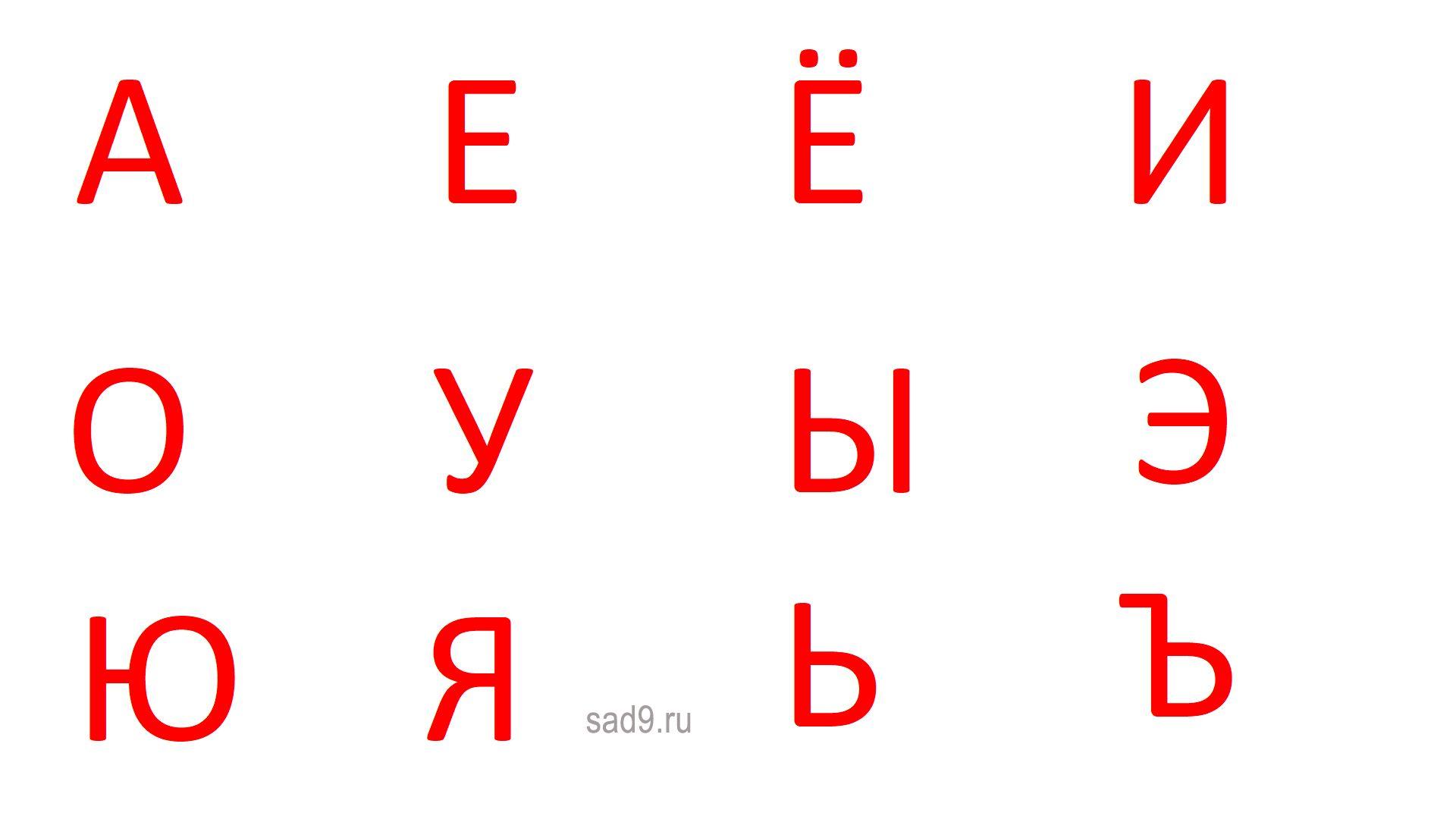 Гласные буквы и звуки