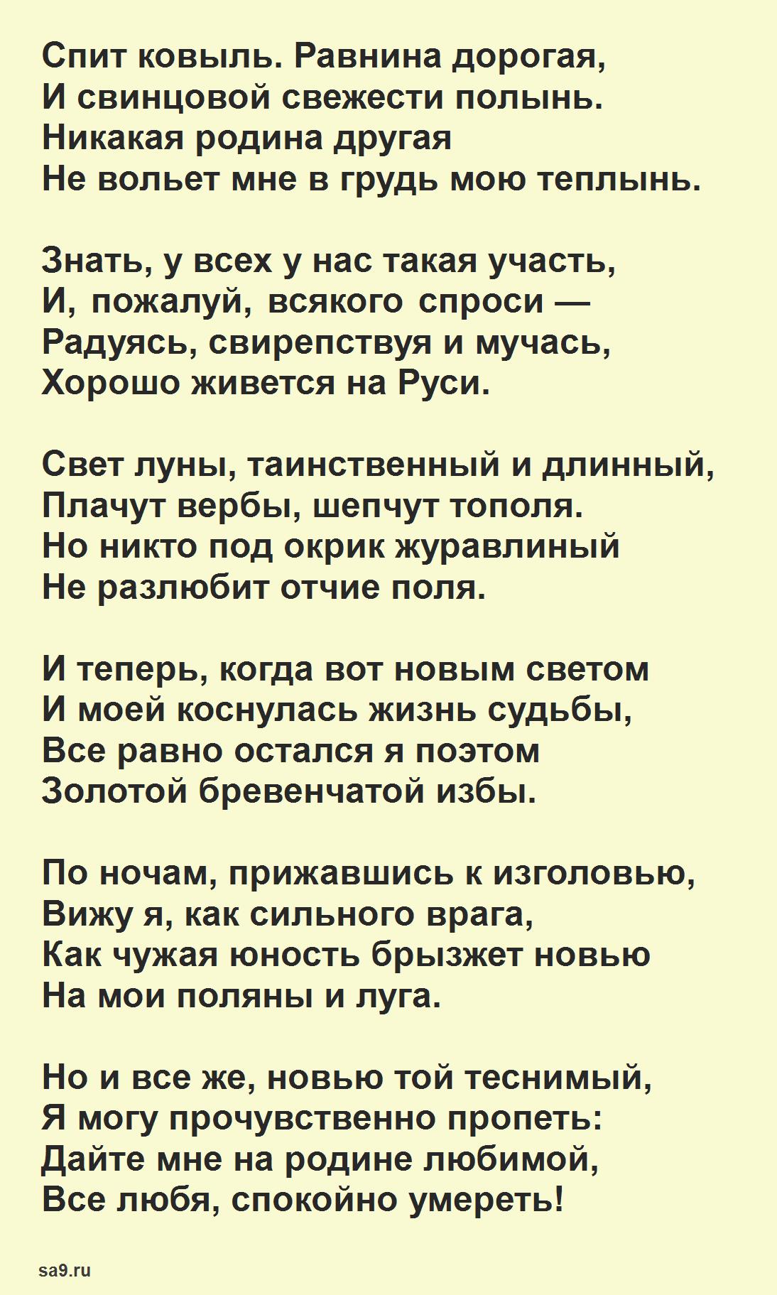 Стихи Есенина, которые легко учатся - Спит ковыль